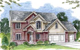 House Plan 44056 | Traditional Style Plan with 2672 Sq Ft, 4 Bedrooms, 4 Bathrooms, 3 Car Garage Elevation