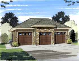 Garage Plan 44060 | European Style Plan, 3 Car Garage Elevation