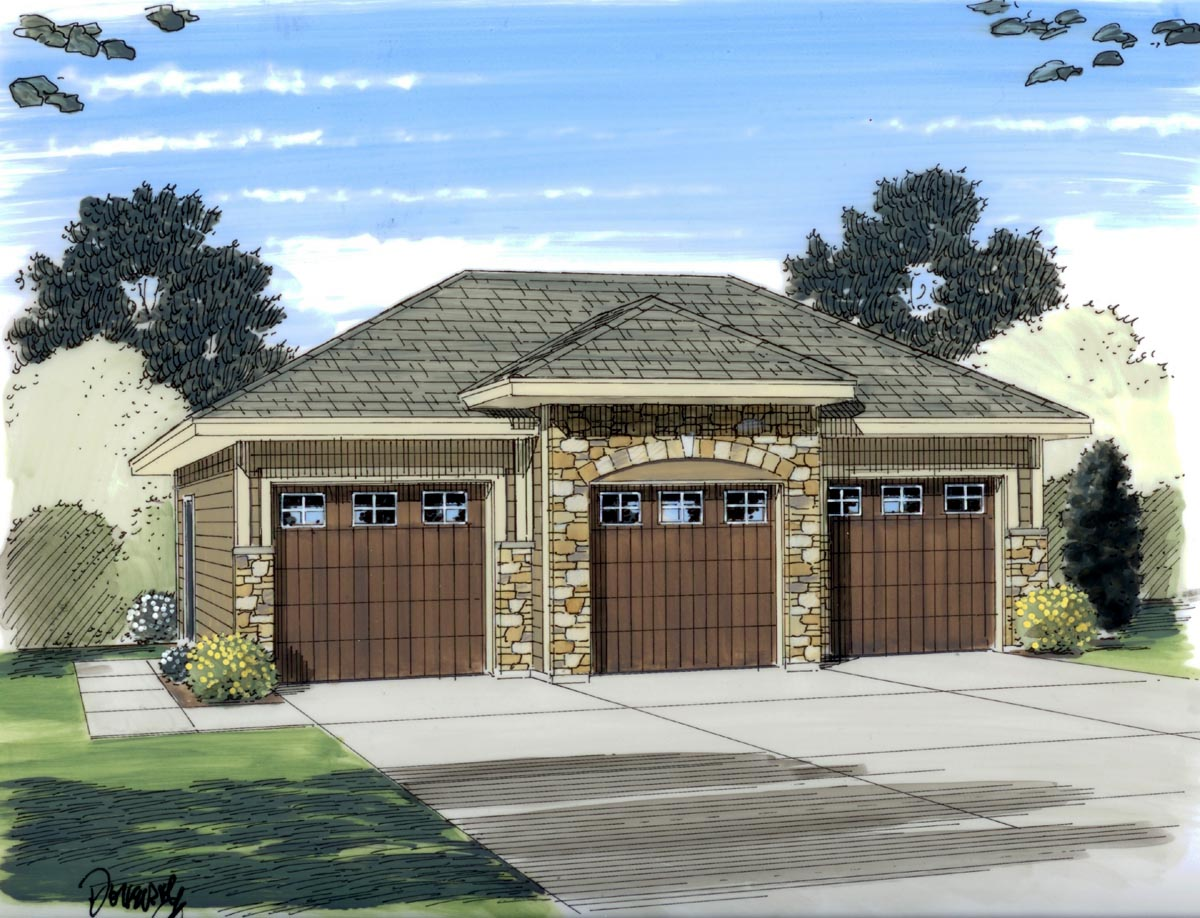 Garage plan 44060 at for Home designs 3 car garage
