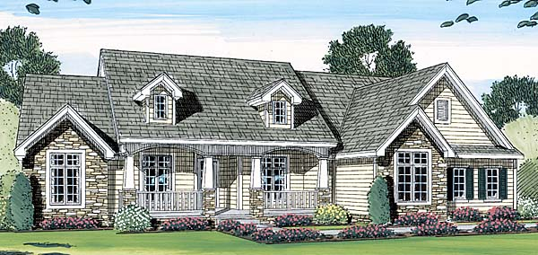 Bungalow Cape Cod Country Farmhouse House Plan 44061 Elevation