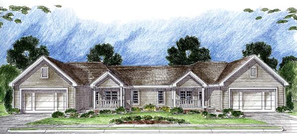 One-Story, Traditional Multi-Family Plan 44062 with 3 Beds, 2 Baths, 2 Car Garage Front Elevation