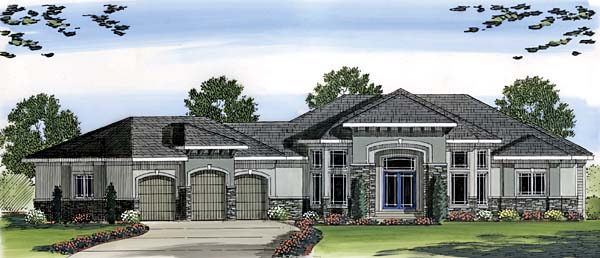 Mediterranean, Prairie Style, Southwest House Plan 44063 with 2 Beds, 3 Baths, 3 Car Garage Elevation