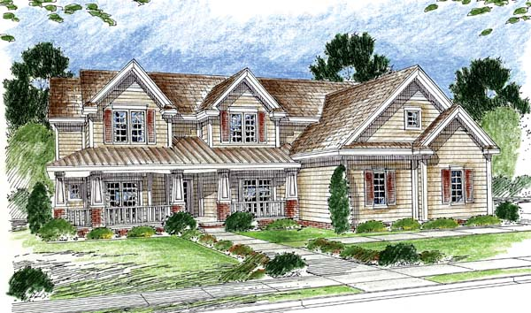 Country , Farmhouse , Traditional House Plan 44065 with 4 Beds, 5 Baths, 3 Car Garage Elevation
