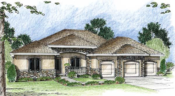 Florida Mediterranean Southwest House Plan 44066 Elevation