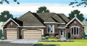 Traditional , European House Plan 44067 with 4 Beds, 3 Baths, 3 Car Garage Elevation
