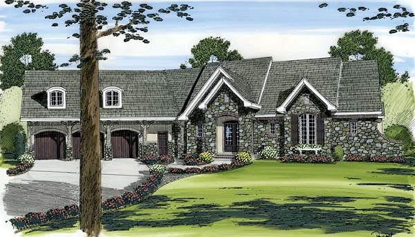 European Traditional House Plan 44068 Elevation
