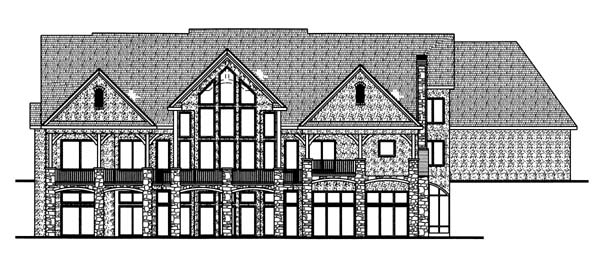 European Traditional House Plan 44068 Rear Elevation