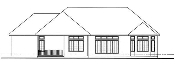 European House Plan 44069 Rear Elevation