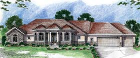 European Traditional House Plan 44070 Elevation