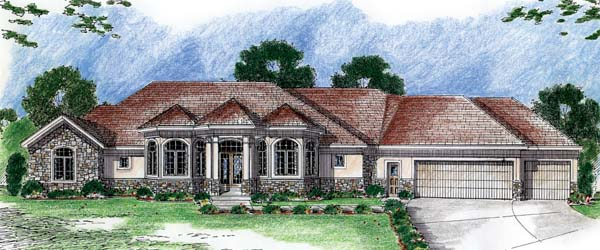 European, Traditional House Plan 44070 with 2 Beds, 3 Baths, 3 Car Garage Elevation