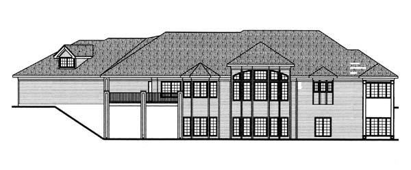 European, Traditional House Plan 44070 with 2 Beds, 3 Baths, 3 Car Garage Rear Elevation