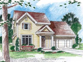 House Plan 44071 | Traditional Style Plan with 1514 Sq Ft, 3 Bedrooms, 3 Bathrooms, 2 Car Garage Elevation