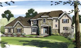 House Plan 44072 | European Style Plan with 3082 Sq Ft, 5 Bed, 4 Bath, 3 Car Garage Elevation
