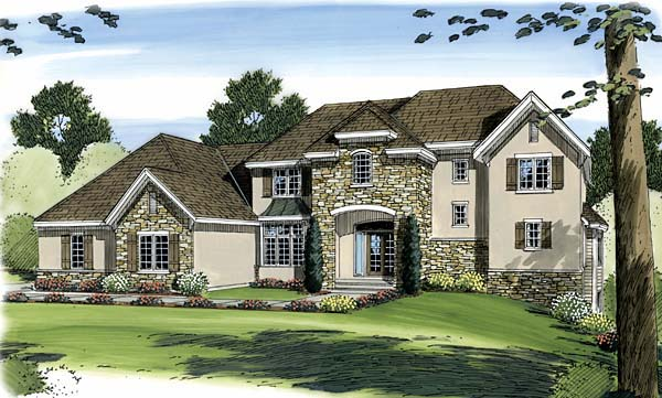 European House Plan 44072 with 5 Beds, 4 Baths, 3 Car Garage Elevation