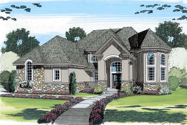 European House Plan 44073 with 4 Beds, 4 Baths, 3 Car Garage Elevation