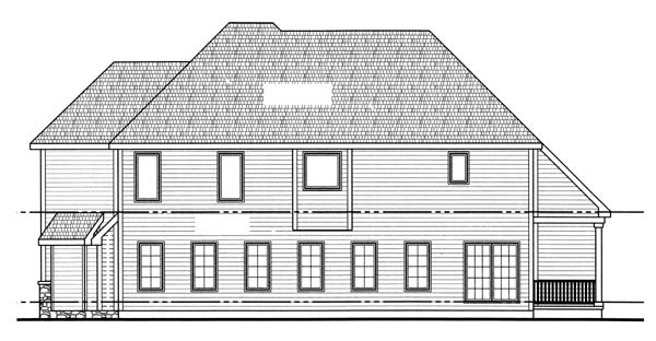 European House Plan 44073 with 4 Beds, 4 Baths, 3 Car Garage Rear Elevation