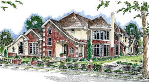 European House Plan 44074 Elevation