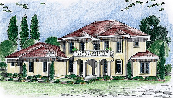 Florida, Mediterranean, Southwest House Plan 44075 with 4 Beds, 3 Baths, 3 Car Garage Elevation