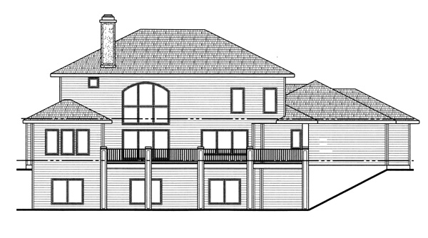Florida, Mediterranean, Southwest House Plan 44075 with 4 Beds, 3 Baths, 3 Car Garage Rear Elevation
