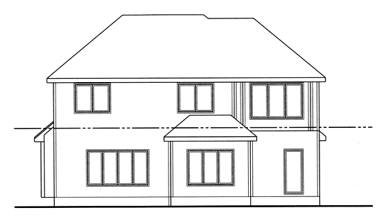 European Traditional House Plan 44076 Rear Elevation