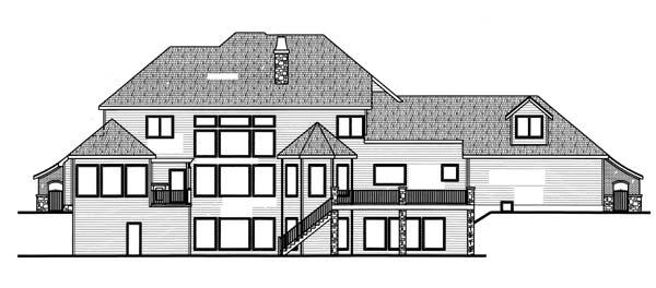 European House Plan 44078 Rear Elevation