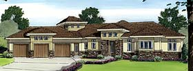 House Plan 44079 | Prairie, Style, Southwest Style House Plan with 3174 Sq Ft, 2 Bed, 3 Bath, 3 Car Garage Elevation