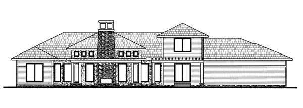 Prairie Style Southwest House Plan 44079 Rear Elevation