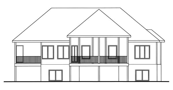 One-Story, Traditional House Plan 44080 with 2 Beds, 2 Baths, 2 Car Garage Rear Elevation