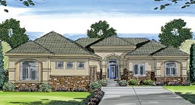 Florida Mediterranean Southwest House Plan 44081 Elevation