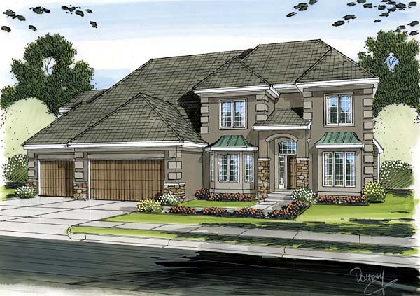 European House Plan 44085 Elevation