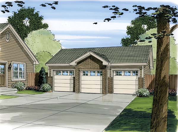 3 Car Garage Plan 44087 Elevation