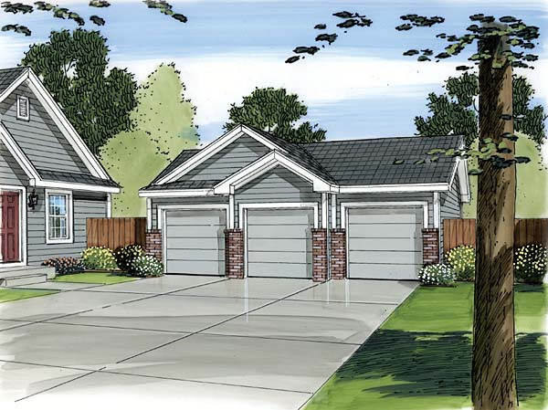 3 Car Garage Plan 44088 Elevation