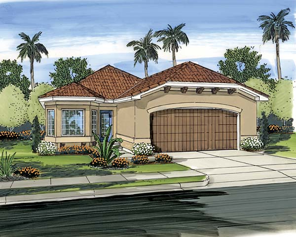 Florida, Mediterranean, Narrow Lot, One-Story, Southwest House Plan 44090 with 3 Beds, 2 Baths, 2 Car Garage Elevation