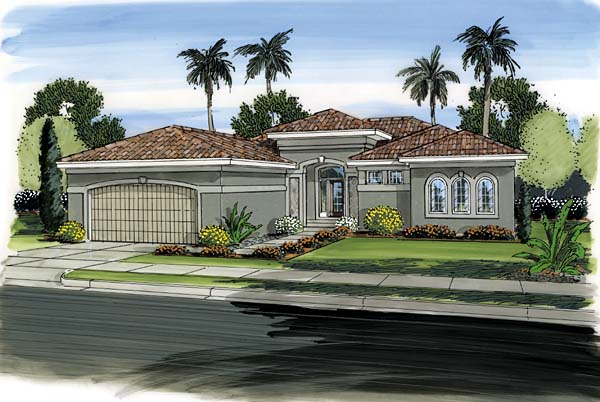 Florida, Mediterranean, One-Story, Southwest House Plan 44091 with 3 Beds , 2 Baths , 2 Car Garage Elevation