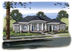Florida , Mediterranean House Plan 44093 with 2 Beds, 3 Baths, 3 Car Garage Elevation