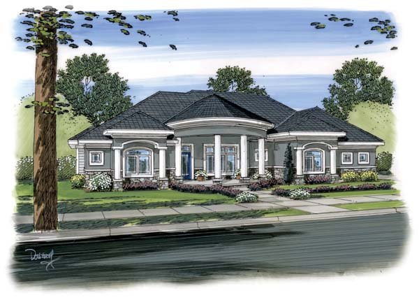 Florida, Mediterranean House Plan 44093 with 2 Beds , 3 Baths , 3 Car Garage Elevation
