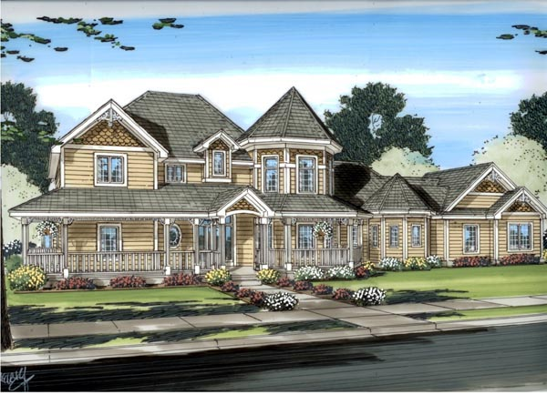 House Plan 44098 | Victorian Style Plan with 3524 Sq Ft, 4 Bedrooms, 4 Bathrooms, 3 Car Garage Elevation