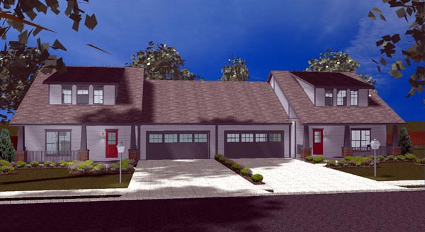 Craftsman Multi-Family Plan 44102 Elevation