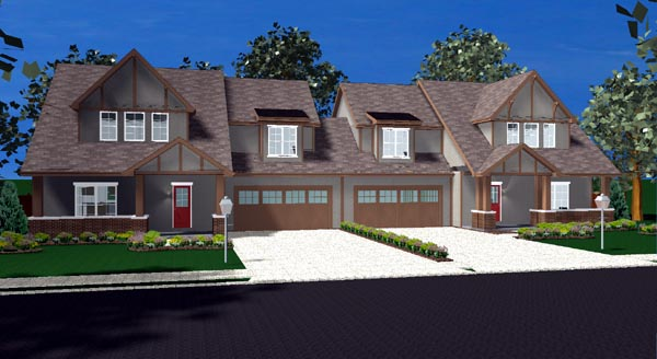 Bungalow Tudor Multi-Family Plan 44105 Elevation