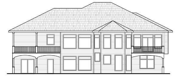 House Plan 44110 | Contemporary Mediterranean Style Plan with 4796 Sq Ft, 4 Bedrooms, 6 Bathrooms, 3 Car Garage Rear Elevation