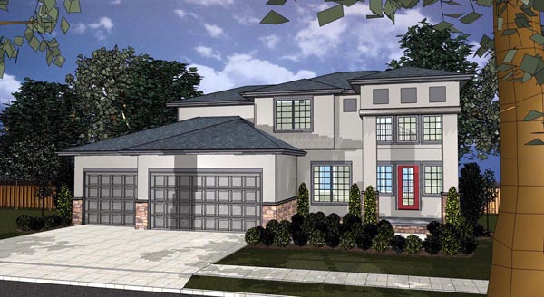 House Plan 44111 | Mediterranean Style Plan with 2642 Sq Ft, 3 Bedrooms, 3 Bathrooms, 3 Car Garage Elevation