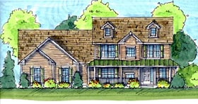 Farmhouse Traditional House Plan 44117 Elevation