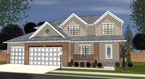 Traditional House Plan 44118 with 3 Beds, 3 Baths, 3 Car Garage Elevation