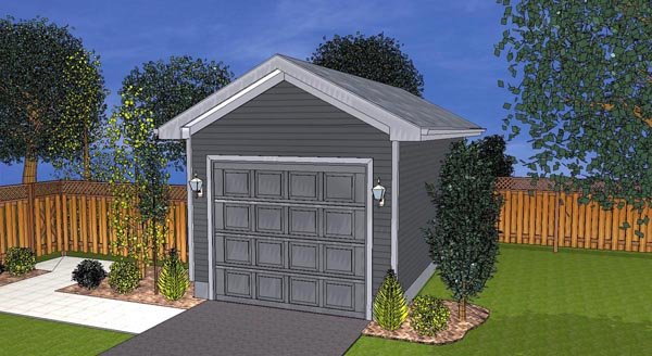 Traditional 1 Car Garage Plan 44119 Elevation