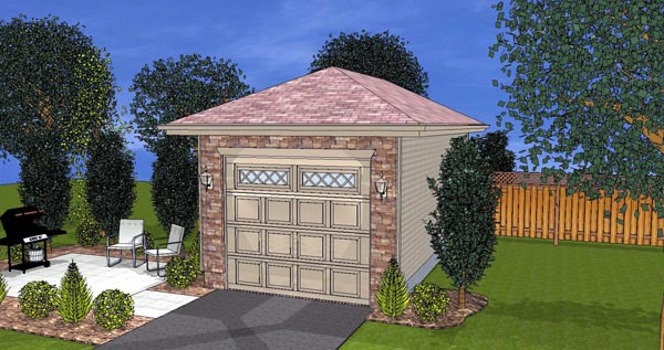 1 Car Garage Plan 44121 Elevation