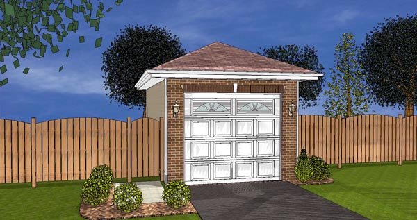1 Car Garage Plan 44122 Elevation