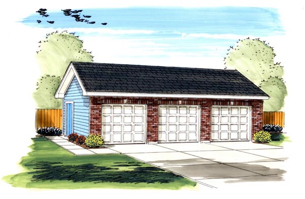 Traditional 3 Car Garage Plan 44130 Elevation