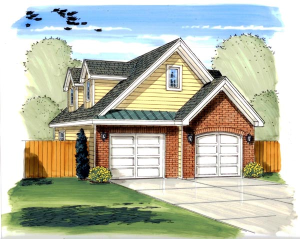 Traditional 2 Car Garage Plan 44131 Elevation