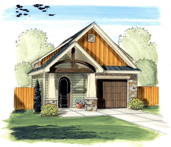 Craftsman, Traditional 1 Car Garage Plan 44132 Elevation