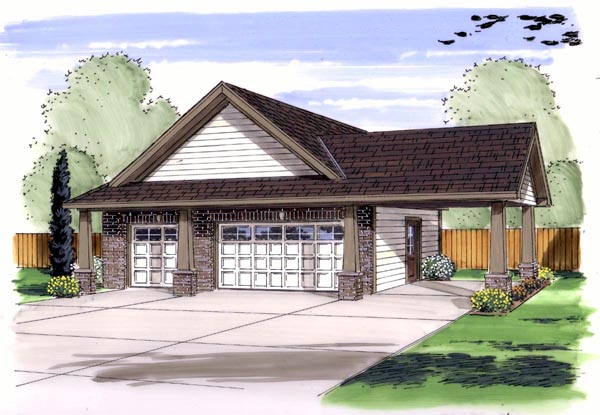 Craftsman Traditional Garage Plan 44136 Elevation